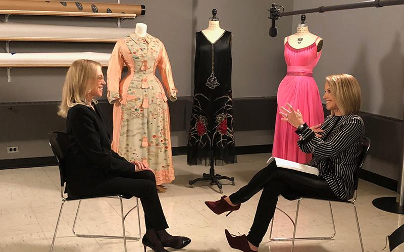 Katie Couric with Valerie Steele, director and chief curator of The Museum at FIT for a segment on Yahoo ABC News.