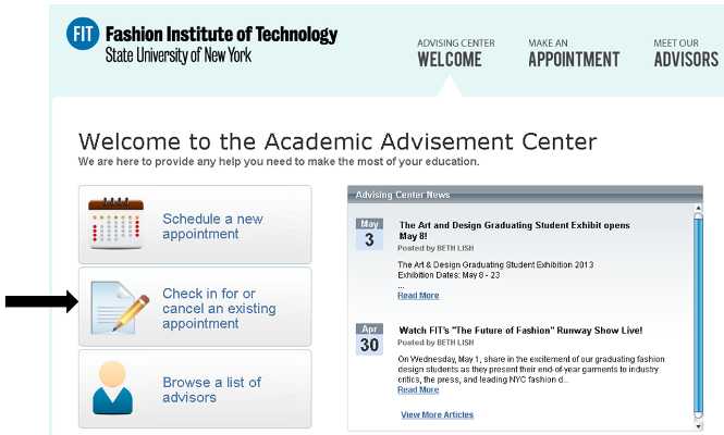 Advisement Center Check in or Cancel