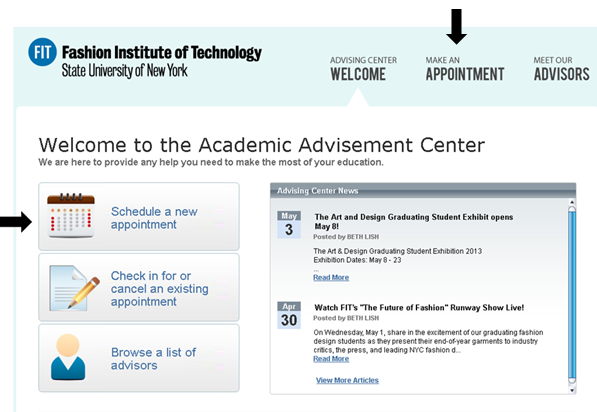 Advisement Center Appointment System Make an Appointment