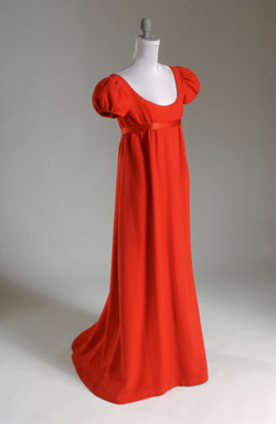 Norman Norell red wool crepe dress
