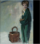 Fashion Drawing of a woman leaning against a wall with a suitcase on the floor