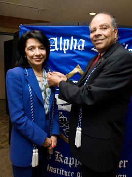 Honorary Inductee, President Joyce F. Brown with Chi Alpha Epsilon National Honor Society founder, Dr. Elbert M. Saddler