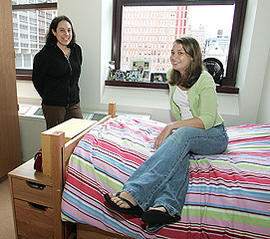 Students in dorm room.