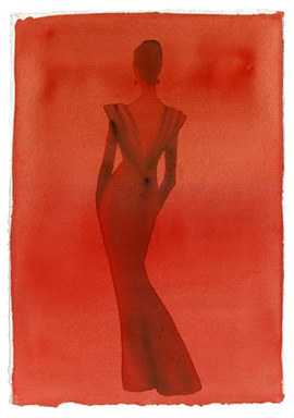 Mats Gustafson for Valentino, 2000, watercolor on paper