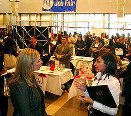 Students at job fair