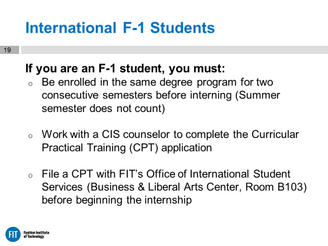 International F1 Students Credited Internship CIS Requirements slide from Online Orientation