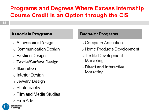 Optional Credited Internships Via CIS from online orientation