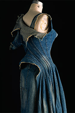 Junya Watanabe, dress, repurposed denim, spring 2002, Japan, museum purchase, 2010.37.12, Museum at FIT. Photograph by William Palmer