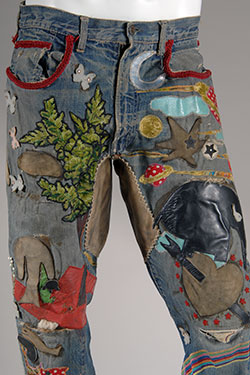 Levi Strauss & Co., jeans, hand-embroidered denim, circa 1969, USA, gift of Jay Good, 80.176.1, Museum at FIT
