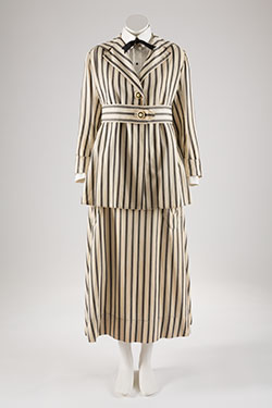 Walking suit, striped denim, circa 1915, USA, museum purchase, P85.35.2, Museum at FIT