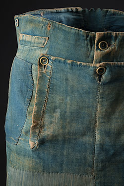 Men's work pants, denim and brushed cotton, circa 1840, USA, Museum at FIT purchase, P86.64.3