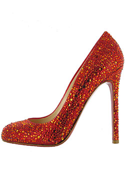 red high heeled shoe with red and gold rcrystals all over