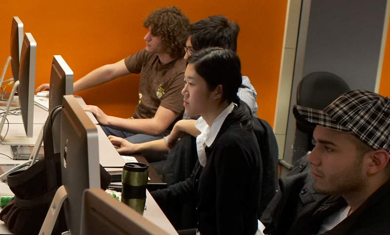students at computers in a lab