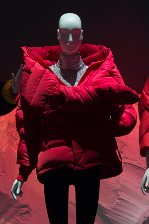 Red puffy parka with extra large collar
