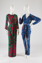 Pajama sets on display in Yves Saint Laurent + Halston exhibition