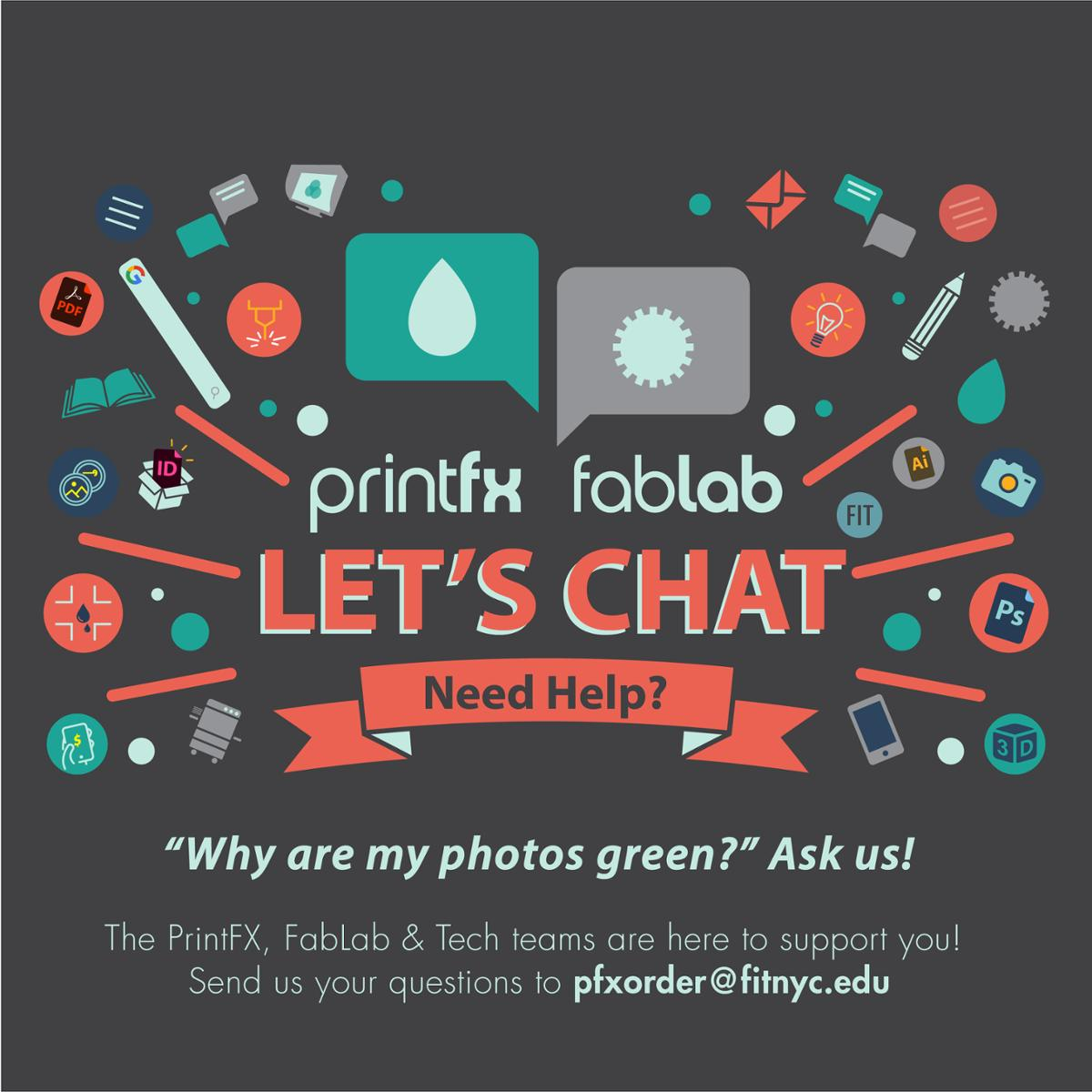 "promo for PrintFX / Fablab ""let's chat, digital service desk"" service"