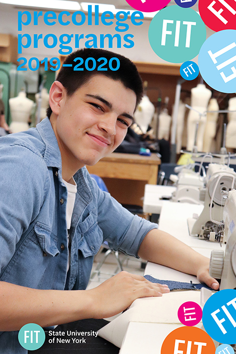 Image of the Precollege brochure cover, smiling boy at a sewing machine