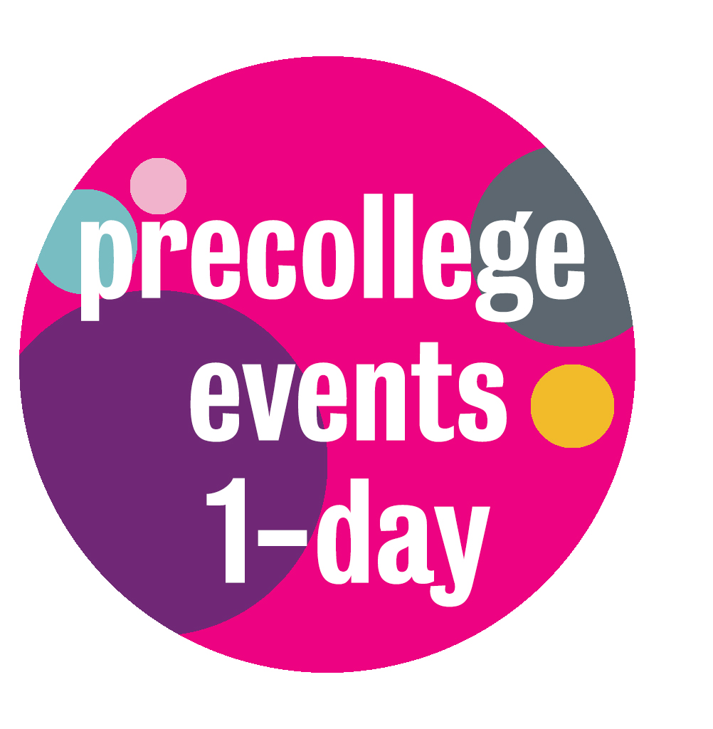 Graphic, bright circles, yellow, for precollege events