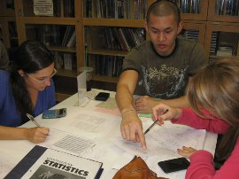 Students being tutored in statistics