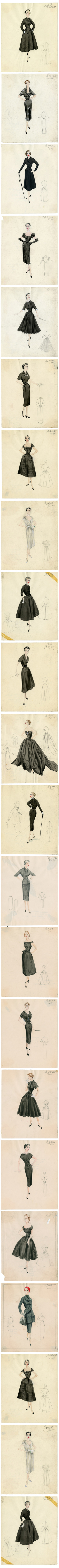 Dior, early 1950s, Bergdorf Custom Salon sketches