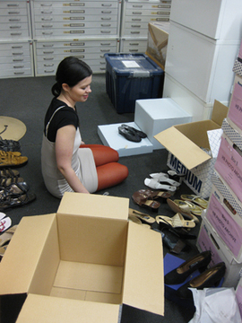 Andrea Kustenkow working on the Arsho Baghsarian shoe collection