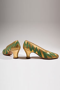 art deco painted gold pumps with green zigzag pattern inset