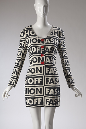 Moschino Couture suit, printed rayon, 1990, Italy, museum purchase, 2009.1.4