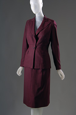 purple and brown horizontal striped wool suit with contrast vertical stripe peaked lapel