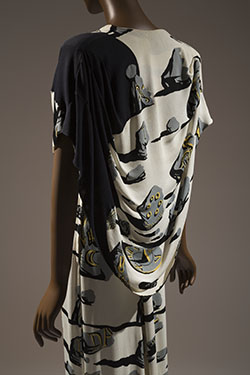 Adrian, evening dress, 1947, USA, textile by Salvador Dalí/Wesley Simpson, Gift of Lola Walker, P90.69.1