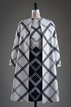 coat and dress with navy diagonal stripes