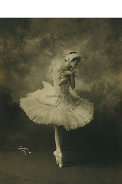 "Anna Pavlova, costumed as ""The Dying Swan,"" from Swan Lake, 1905. Photograph by Herman Mishkin. Jerome Robbins Dance Division, The New York Public Library Digital Collections."