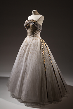 "Pierre Balmain, painted white tulle debutante gown with painted velvet ""feathers,"" spring 1960. Lent by Hamish Bowles"