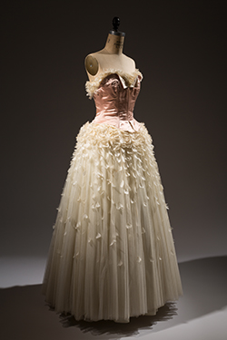 Pierre Balmain, pink and off-white evening dress with coq feathers, 1949. The Museum at FIT, Gift of Barbara Louis. © The Museum at FIT
