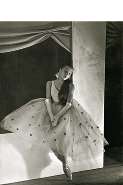 Tamara Toumanova wearing Christian Bérard's costume for Cotillon, choreographed by George Balanchine for the Ballets Russes de Monte Carlo, 1932.