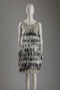 Yves Saint Laurent, ostrich feather ensemble worn by Margot Fonteyn, 1965. Lent by Fashion Museum Bath. Photograph by William Palmer