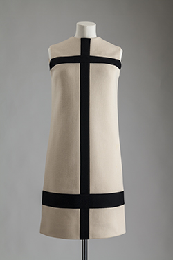 "Yves Saint Laurent, wool jersey, ""Mondrian"" dress worn by Margot Fonteyn, 1965. Lent by Fashion Museum Bath. Photograph by William Palmer"