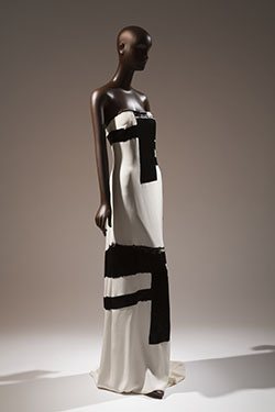 white strapless floor length dress handbeaded with black micro bugle beads in a design inspired by Franze Kline