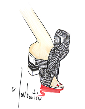 Illustration of open-toed shoe with big bow by Narciso Rodriguez