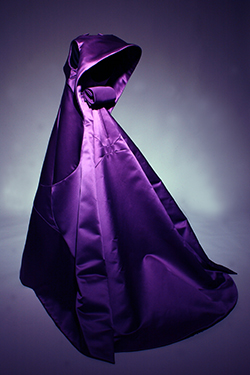 tabernacle infanta evening dress in amethyst duchesse silk satin with stylized halter neckline and train