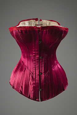 bright red silk satin corset with red damask trim at top