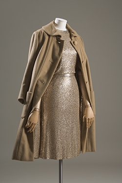 gold sequined camel silk jersey mermaid sleeveless sheath dress and cashmere straightline subway coat with sequined lining