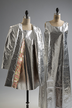 Waste Basket Boutique by Mars of Asheville, dresses, circa 1966, USA. Gift of Ruth Ford and Mrs. D.J. White. Coat, 1966, USA. Gift of Montgomery Ward.