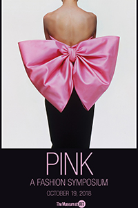 "Pink sympsoium brochure cover image: back view of black sheath dress with large ""Paris rose"" satin bow and title printed in pink"
