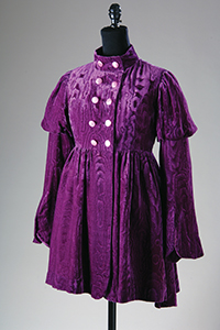 longsleeve purple velvet coat with military and Victorian style influences