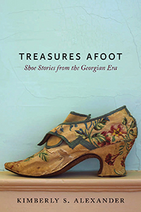 book cover features titles at top and floral shoe at bottom