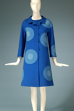 blue a-line shift dress with 9 two toned medium and light blue circles