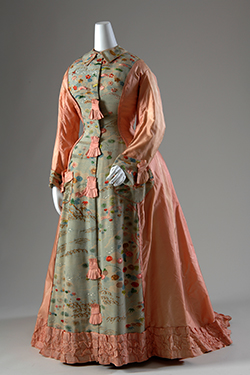 peach morning robe with water and floral motifs