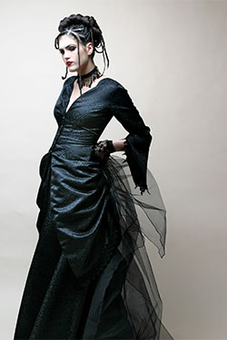Kambriel, Midnight Bustle ensemble: jacket and skirt; satin finished black brocade. 2005, USA, lent by Kambrie. Photo by Nadya Lev.