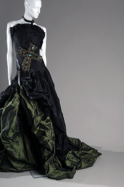 Alexander McQueen, Evening dress; black and green silk taffeta with glass jewel embroidery. Autumn/Winter 2007, England, lent by Alexander McQueen. Photo by Irving Solero.