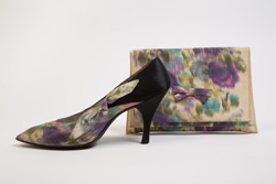 purple and blue floral pumps with matching bag